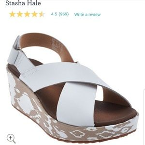 Clarks leather cross over Stasha Hale wedge sandal